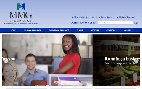 Screenshot of Home Page mmgins.com - MMG Insurance; protecting your piece of the world. - captured Nov. 18, 2016