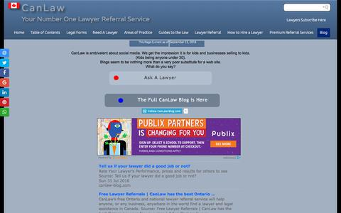 Screenshot of Blog canlaw.com - Lawyers Referrals  CanLaw Blog. Is this a waste of time? Free - captured Sept. 23, 2018
