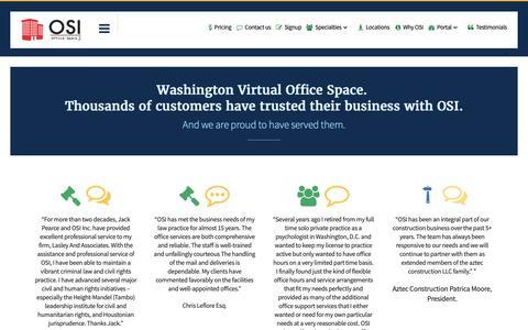 Screenshot of Testimonials Page osioffices.com - OSI Testimonials | Washington virtual office space | DC | OSI Offices - captured Oct. 18, 2018