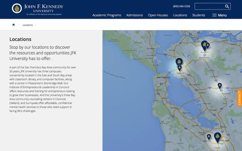 Screenshot of Locations Page jfku.edu - Locations | John F. Kennedy University - captured Feb. 11, 2016