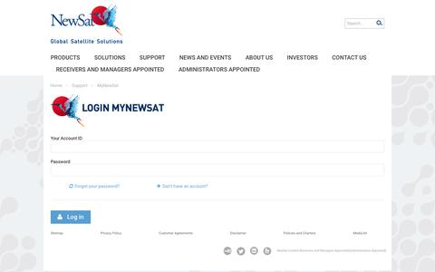 Screenshot of Login Page newsat.com - MyNewSat - captured Nov. 25, 2015