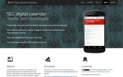 Screenshot of About Page seccalendar.org.uk - Terms and Conditions | SEC Digital Calendar and Lectionary for Outlook, Google Calendar, iCal, etc. - captured Feb. 14, 2018