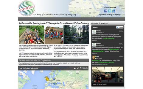 Screenshot of Home Page intervol.org.uk - InterVol - Ethical International Volunteering - captured Sept. 30, 2014