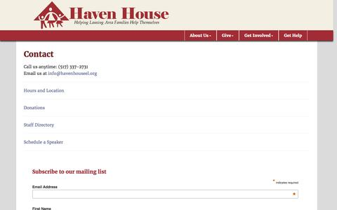 Screenshot of Contact Page havenhouseel.org - Contact - Haven House of East Lansing - captured Jan. 26, 2016