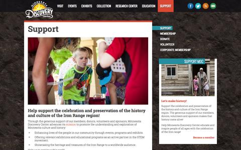 Screenshot of Support Page mndiscoverycenter.com - Support - Minnesota Discovery Center: The Museum of the Iron Range - captured Oct. 7, 2014
