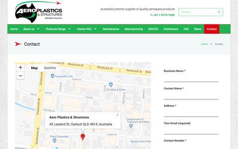 Screenshot of Contact Page aeroplastics.com.au - Contact - Aeroplastics, Australia, Aerospace Products - captured Oct. 3, 2018