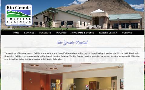 Screenshot of Locations Page riograndehospital.org - Hospital - Rio Grande Hospital Health Care Clinics Monte Vista Del Norte South Fork Creede Colorado - captured Oct. 19, 2018