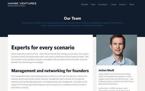 Screenshot of Team Page hanseventures.com - Hanse Ventures ·   Team - captured July 12, 2018