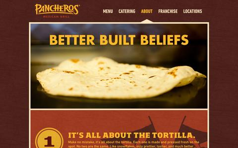 Screenshot of About Page pancheros.com - About | Pancheros Mexican Grill - captured Oct. 1, 2014