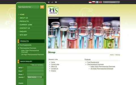 Screenshot of Site Map Page maaspharmachemicals.com - Site Map - Maas Pharma Chemicals website - captured Oct. 8, 2014