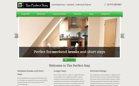 Screenshot of Home Page theperfectstay.co.uk - The Perfect Stay - Norfolk Short Breaks & Weekend Breaks Accommodation - captured Oct. 9, 2014