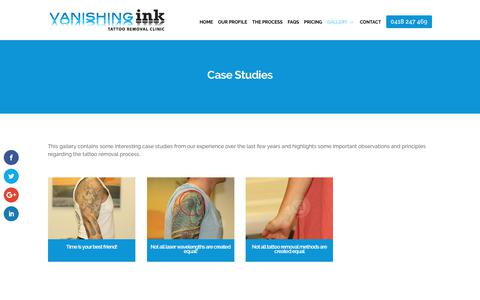 Screenshot of Case Studies Page vanishingink.com.au - Tattoo Removal Case Studies and Advice for the best results - captured Oct. 19, 2017