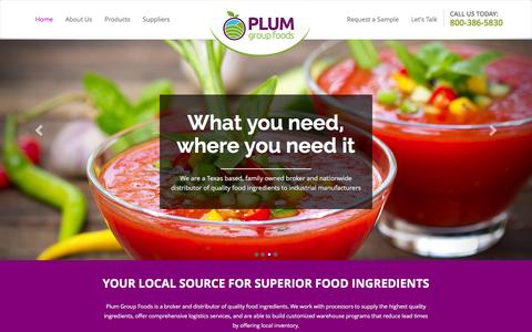 Screenshot of Home Page plumandassociates.com - Plum Group Foods - Trusted Source for Organic and Bulk Frozen Food Ingredients - captured Dec. 15, 2015