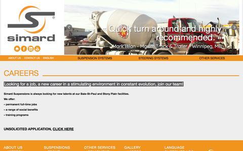 Screenshot of Jobs Page simardsuspensions.com - Careers & Job offers : Heavy truck industry | Simard - captured Oct. 21, 2017