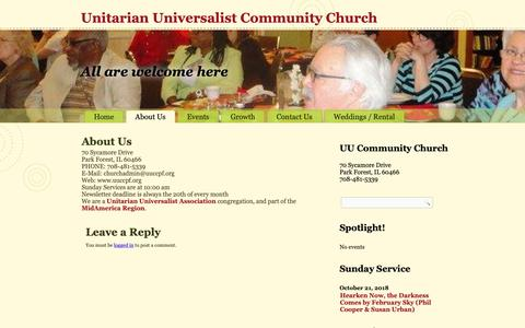 Screenshot of About Page uuccpf.org - About Us – Unitarian Universalist Community Church - captured Oct. 18, 2018