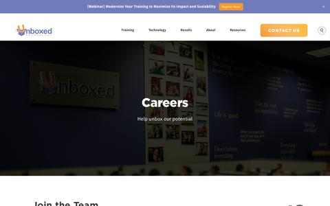 Screenshot of Jobs Page unboxedtechnology.com - Careers at Unboxed Technology in Richmond, VA - captured Sept. 21, 2018
