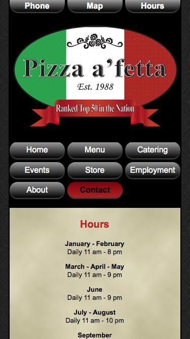 Screenshot of Contact Page Hours Page  pizza-a-fetta.com - Contact Pizza a 'fetta | Hours | Restaurant  Contact | Office Contact