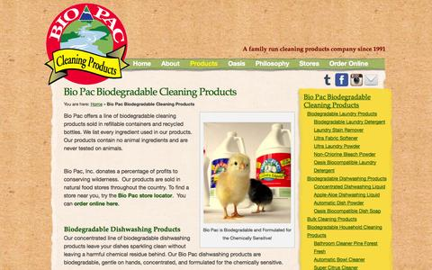 Screenshot of Products Page bio-pac.com - Biodegradable Cleaning Products from Bio Pac Inc. - captured Oct. 5, 2014