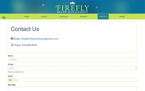 Screenshot of Contact Page fireflybrandmanagement.com - Contact Us | Firefly Brand Management - captured Aug. 3, 2016