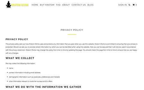 Screenshot of Privacy Page kratomdivine.com - Privacy Policy - Kratom Divine - captured Oct. 16, 2017