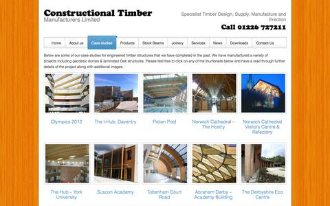 Screenshot of Case Studies Page constructionaltimber.com - engineered timber by Constructional TimberConstructional Timber - captured Jan. 31, 2016