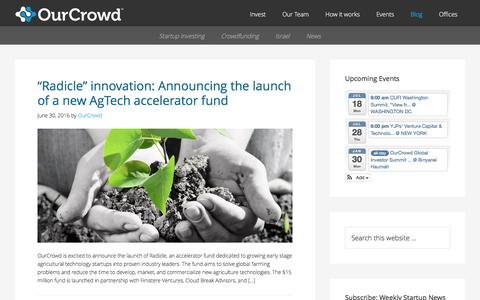 Screenshot of Blog ourcrowd.com - OurCrowd - A better way to invest in startups. - captured July 3, 2016