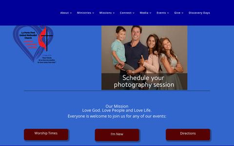 Screenshot of Home Page laportefumc.org - Laporte First United Methodist Church | New website coming soon! - captured Oct. 10, 2018