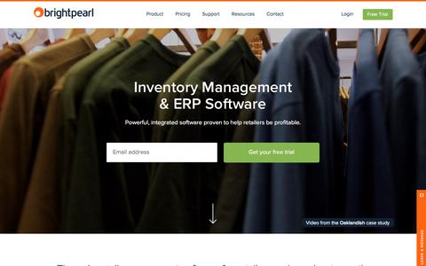 Screenshot of Home Page brightpearl.com - Inventory Management & ERP Software | Brightpearl - captured Feb. 17, 2016