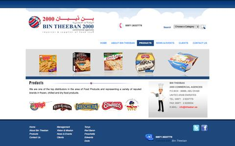 Screenshot of Products Page bintheeban.com - :: Bin Theeban 2000 Commercial Agencies | Impoter  & Supplier of Food Stuff, Abu Dhabi, UAE, Middle East - captured Oct. 5, 2014