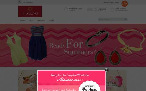 Screenshot of Home Page engrossonline.in - Online Shopping for Dresses, Tops, Skirts, Jeans, Handbags, Shoes & Artificial Jewellery in India | Engross - captured Sept. 25, 2014