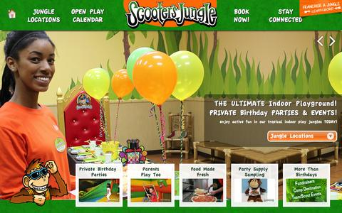Screenshot of Home Page scootersjungle.com - Scooter's Jungle: We Specialize in Private Kids Birthday Parties! Parents play too! - captured Sept. 23, 2014