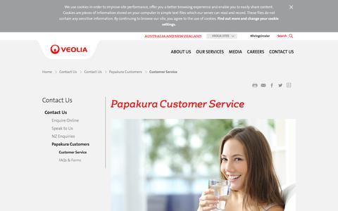 Screenshot of Support Page veolia.com - Papakura Customer Service - Veolia Australia and New Zealand - captured Nov. 23, 2016