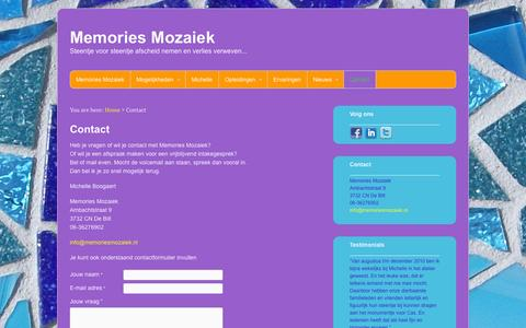 Screenshot of Contact Page memoriesmozaiek.nl - Contact Memories Mozaiek - captured Oct. 27, 2014