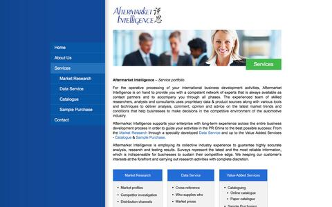 Screenshot of Services Page afmkt.com - Services - Aftermarket Intelligence - captured Feb. 5, 2016