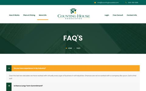 Screenshot of FAQ Page countinghousebiz.com - FAQ's - Counting House Associates - captured Sept. 29, 2018