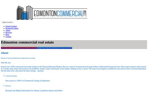 Screenshot of Home Page edmontoncommercial.com - Edmonton Commercial Real Estate – News, Information and Listings - captured Nov. 10, 2018