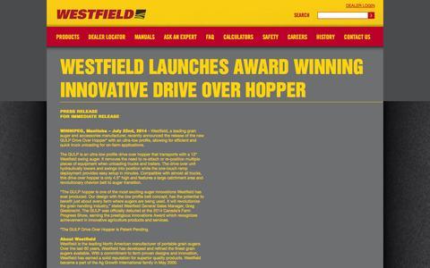 Screenshot of Press Page grainaugers.com - - News - Westfield Launches Award Winning Innovative Drive Over Hopper - captured Oct. 26, 2014
