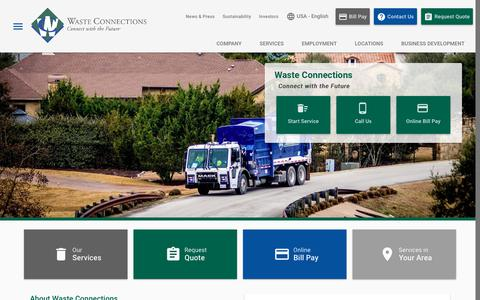 Screenshot of Home Page wasteconnections.com - Waste Collection, Disposal & Recycling Services | Waste Connections - captured Sept. 28, 2018