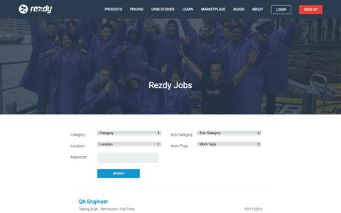 Screenshot of Jobs Page rezdy.com - Online Booking Software Jobs - Rezdy : Rezdy - captured Nov. 10, 2015