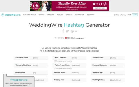 Screenshot of weddingwire.com - Wedding Hashtag Generator - WeddingWire.com - captured Feb. 19, 2017