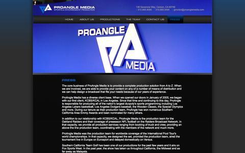 Screenshot of Press Page proanglemedia.com - ProAngle Media - Press - captured Sept. 30, 2014