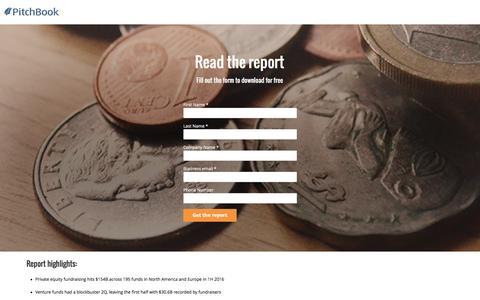 Screenshot of Landing Page pitchbook.com - PitchBook 1H 2016 PE & VC Fundraising & Capital Overhang Report - captured Oct. 22, 2016