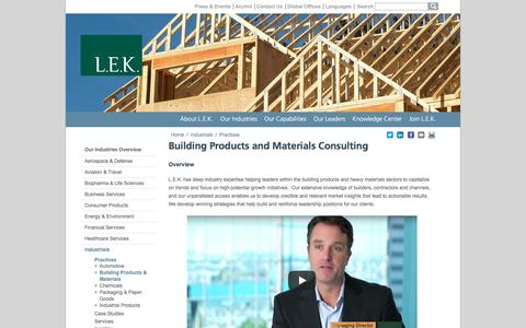 Building Products, Industrial Products | L.E.K. Consulting