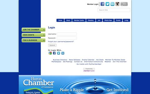 Screenshot of Login Page huronchamber.ca - Login - Huron Chamber of Commerce, ON - captured Nov. 15, 2016