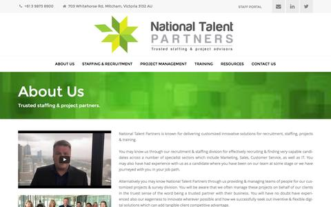 Screenshot of About Page nationaltalentpartners.com.au - About Us - National Talent Partners - captured Aug. 12, 2016