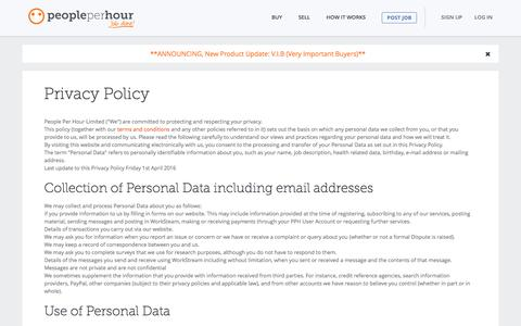 Privacy Policy - People Per Hour (PPH) - PeoplePerHour.com