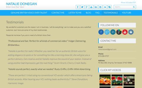 Screenshot of Testimonials Page britishvoiceovertalent.com - Testimonials | Natalie Donegan - captured Nov. 23, 2016