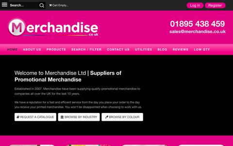 Screenshot of Home Page merchandise.co.uk - Promotional Products and Promo Gifts | Merchandise Ltd - Merchandise Ltd - captured Sept. 12, 2017