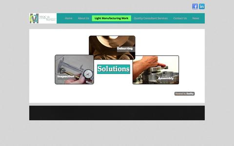 Screenshot of Services Page madero-qc.com - Light Manufacturing Work | - captured Oct. 3, 2014