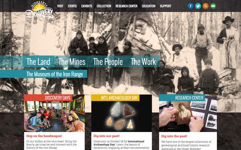 Screenshot of Home Page mndiscoverycenter.com - Minnesota Discovery Center: The Museum of the Iron Range - captured Oct. 7, 2014